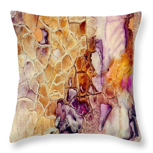 Abstract Throw Pillow featuring the painting Amethyst and Copper 1 by Susan Kubes