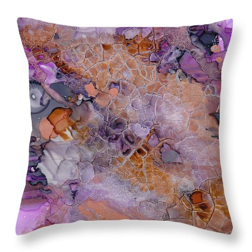 Abstract Throw Pillow featuring the mixed media Amethyst And Copper by Susan Kubes