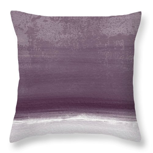 Beach Throw Pillow featuring the painting Amethyst Shoreline- Abstract art by Linda Woods by Linda Woods
