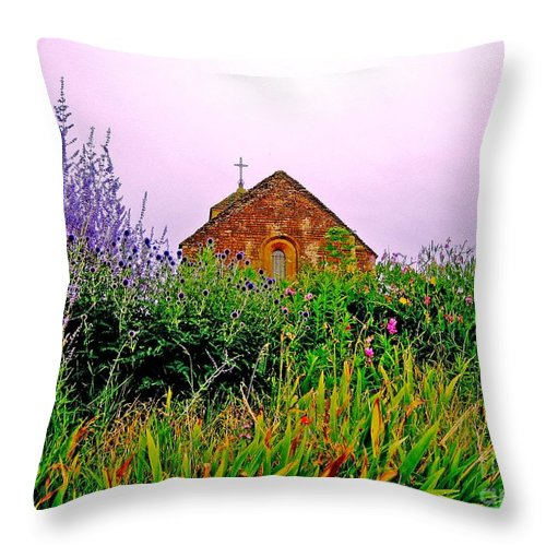 Chapel Throw Pillow featuring the photograph Ameugny 3 by Jeff Barrett