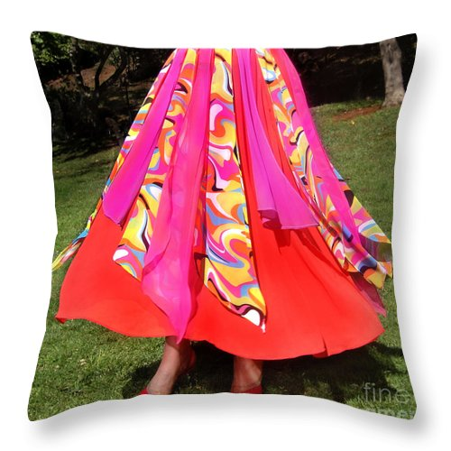Ameynra Throw Pillow featuring the photograph Ameynra Belly Dance Fashion - Multi-color Skirt 93 by Sofia Metal Queen