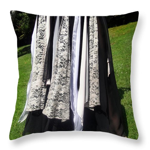 Ameynra Throw Pillow featuring the photograph Ameynra Fashion Gothic Skirt With Lace by Sofia Metal Queen