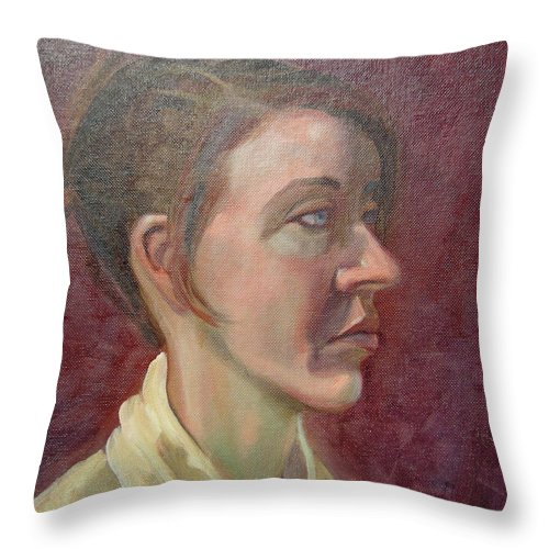 Girl Throw Pillow featuring the painting Ami Portrait by Lilibeth Andre