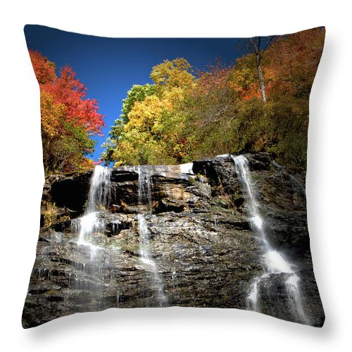 Amicalola Throw Pillow featuring the photograph Amicalola Falls by Dick Goodman