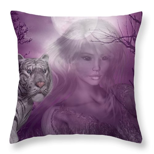 White Tiger Throw Pillow featuring the digital art Amidst The Aura by RiaL Treasures