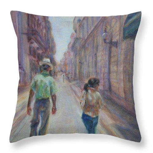 Quin Sweetman Throw Pillow featuring the painting Amigos En Havana by Quin Sweetman