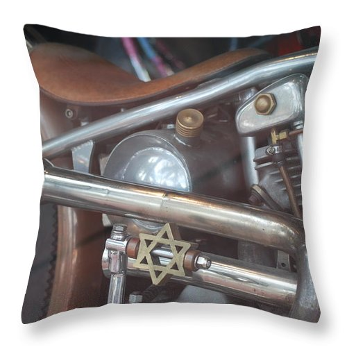 Motorcycle Throw Pillow featuring the photograph Ami's Bike by Rob Hans