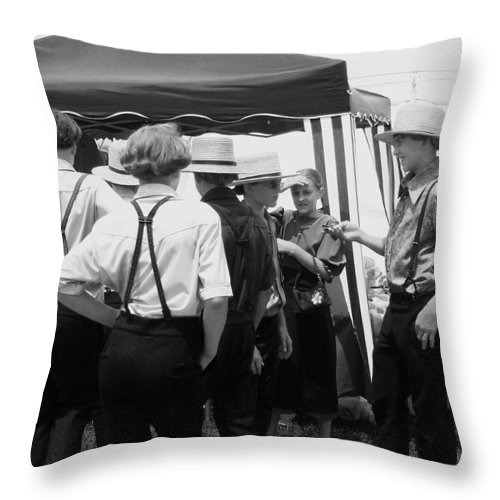 Amish Throw Pillow featuring the painting Amish Auction Day by Eric Schiabor