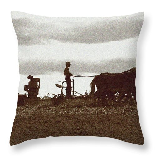 Amish Throw Pillow featuring the photograph Amish Farmer 2 by Lou Ford
