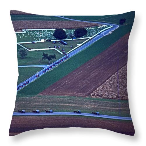 Amish Buggies Throw Pillow featuring the photograph Amish Funeral Buggie Procession Aerial by Blair Seitz