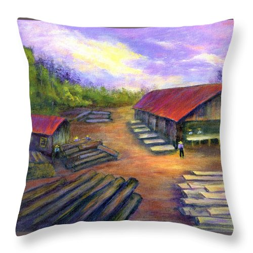 Amish Throw Pillow featuring the painting Amish Lumbermill by Gail Kirtz