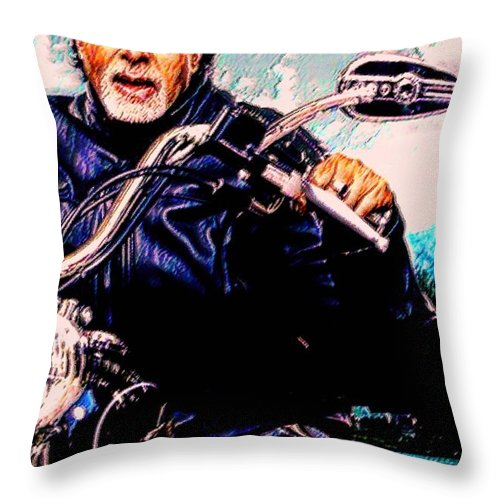 Amitabh Bachchan Throw Pillow featuring the painting Amitabh Bachchan - Living Legend by Piety Dsilva
