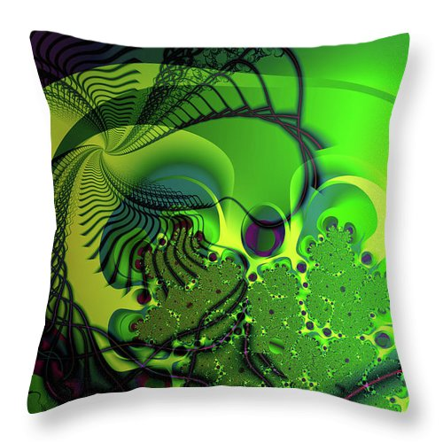 Fractal Throw Pillow featuring the digital art Amoeba by Frederic Durville