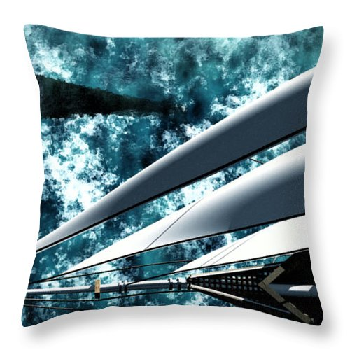 Ocean Throw Pillow featuring the digital art Among Giants by Richard Rizzo
