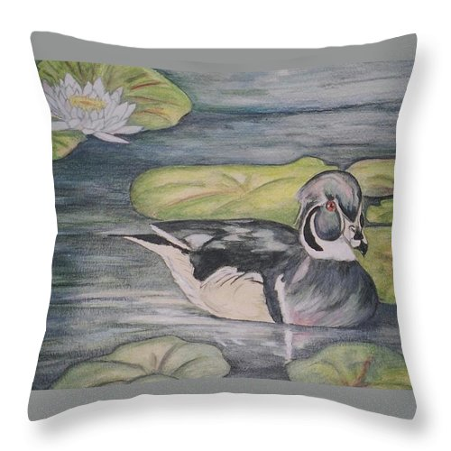 Wood Duck Throw Pillow featuring the painting Among The Lillypads by Debra Sandstrom