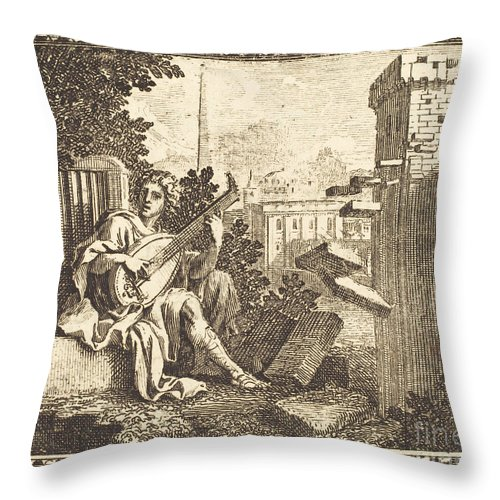 Throw Pillow featuring the drawing Amphion by Jean Lepautre