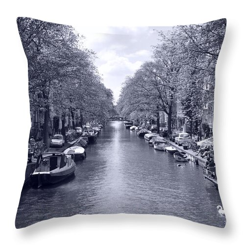 Architecture Throw Pillow featuring the photograph Amsterdam Canal by Noah Cole