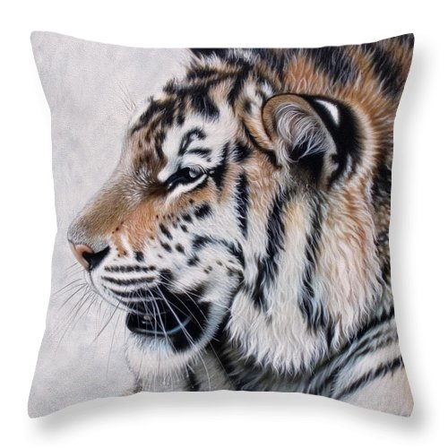 Acrylic Throw Pillow featuring the painting Amur by Sandi Baker