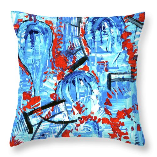 Blue Throw Pillow featuring the painting Amusement Park by Larry Calabrese