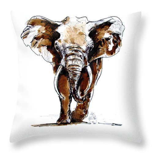 Wildlife Throw Pillow featuring the drawing Amy Grown by Paul Miller