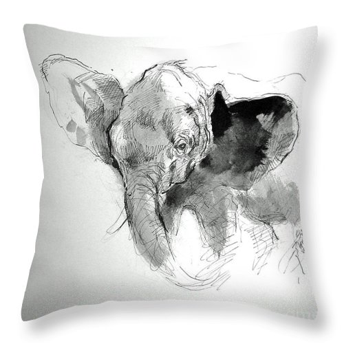 Baby Elephant Throw Pillow featuring the painting Amy The Saved Elephant by Paul Miller