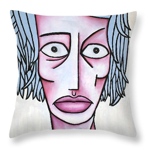 Potrait Throw Pillow featuring the painting amy by Thomas Valentine