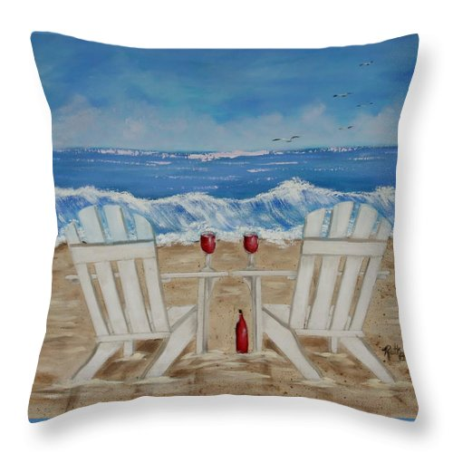Beach Living Throw Pillow featuring the painting Amy's Beach by Ruth Bares