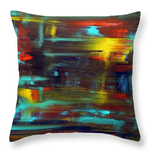 Red Blue Yellow Gold Brown Cad Orange Eyes Obama Oscar  Face Thought Emotions Throw Pillow featuring the painting An Abstract Thought by Jack Diamond