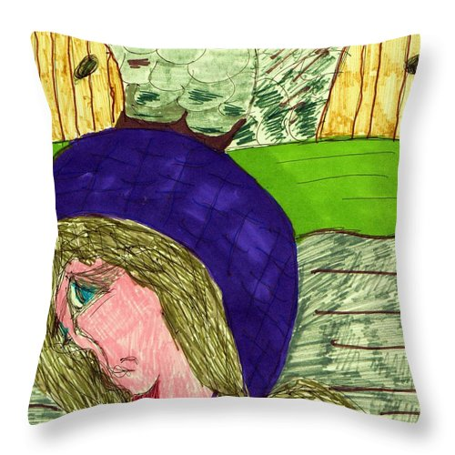Old World Background Blue Hat Lady Throw Pillow featuring the mixed media An Afternoon Walk by Elinor Helen Rakowski