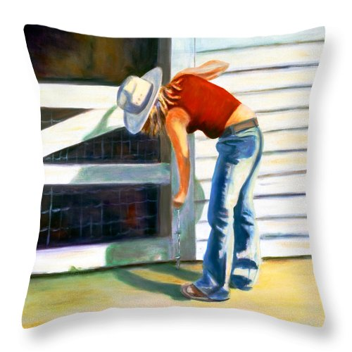 Red Throw Pillow featuring the painting An American Girl by Shannon Grissom