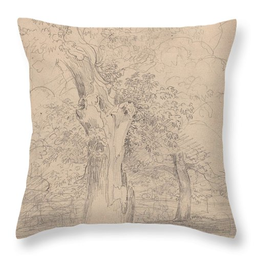 Throw Pillow featuring the drawing An Ancient Tree With Figures In A Landscape by Friedrich Salath?