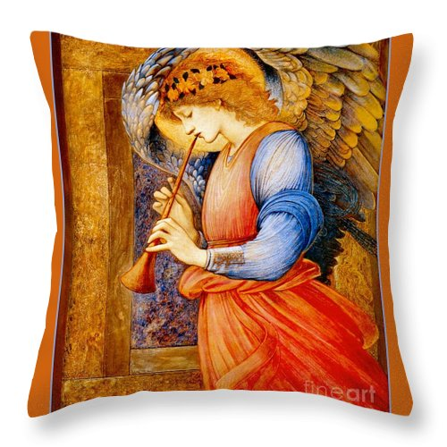 An Angel Playing A Flageolet Throw Pillow featuring the painting An Angel Playing A Flageolet by Celestial Images