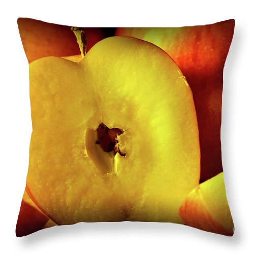 Food Throw Pillow featuring the photograph An Apple A Day by Brian Roscorla