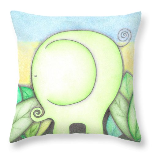 Megan Stone Throw Pillow featuring the drawing An Elephant For Erin by Megan Stone