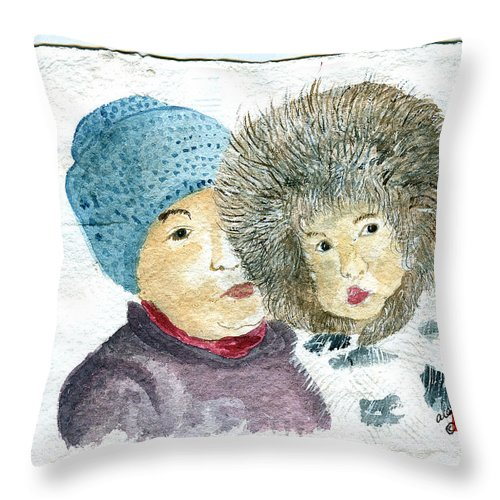 Mother And Child Throw Pillow featuring the painting An Eskimo Mother And Child by Arlene Wright-Correll