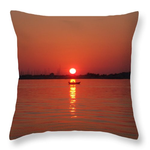 Row Boat Throw Pillow featuring the photograph An Evening Row by Suzana Mestric