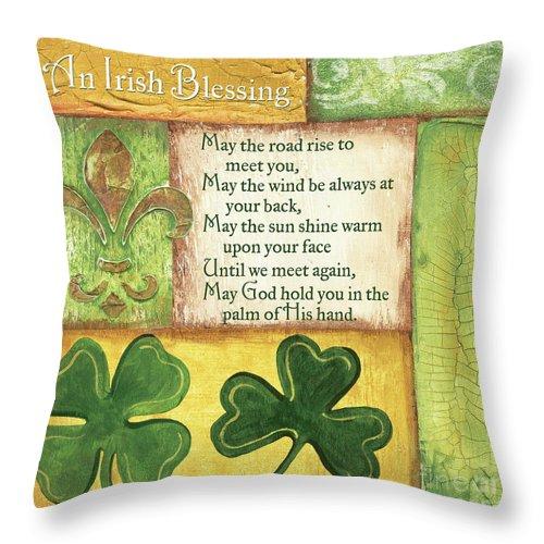 Irish Throw Pillow featuring the painting An Irish Blessing by Debbie DeWitt
