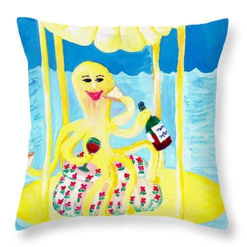 Sue Burgess Throw Pillow featuring the painting An Octopus Summerhouse by Sushila Burgess