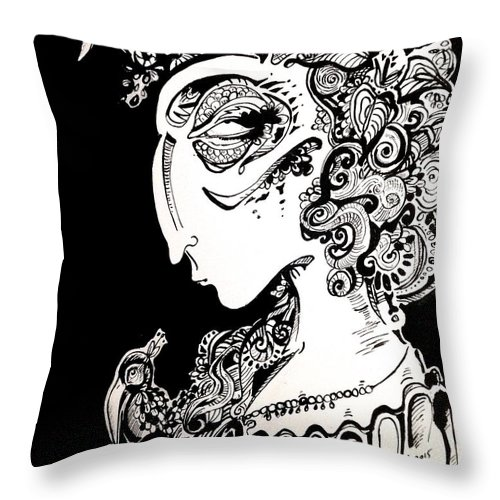 Blackandwhite Throw Pillow featuring the painting An Ode To Toller by Brittney Norton