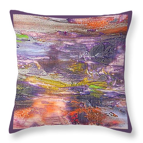 Old Board Throw Pillow featuring the painting An Old Board by Dragica Micki Fortuna