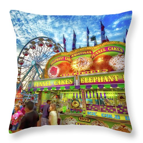 Carnival Throw Pillow featuring the photograph An Old Fashioned Midway by Mark Andrew Thomas