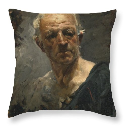 An Old Man Throw Pillow featuring the painting An Old Man by Celestial Images