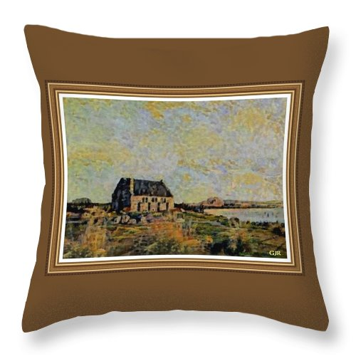 Amsterdam Throw Pillow featuring the digital art An Old Scottish Cottage Overlooking A Loch L A S With Decorative Ornate Printed Frame. by Gert J Rheeders