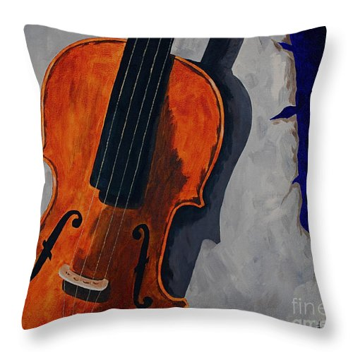 Violin Music Old Song Throw Pillow featuring the painting An Old Song by Herschel Fall