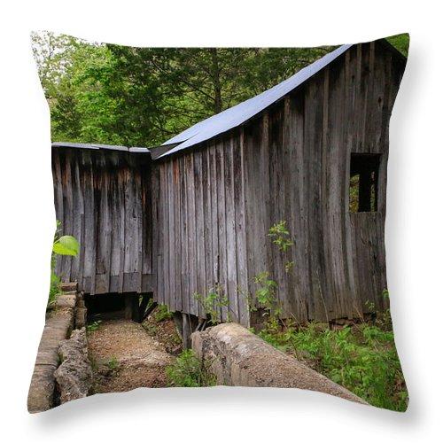 Missouri Ozarks Throw Pillow featuring the photograph An Ozark Mill by Lynn Sprowl