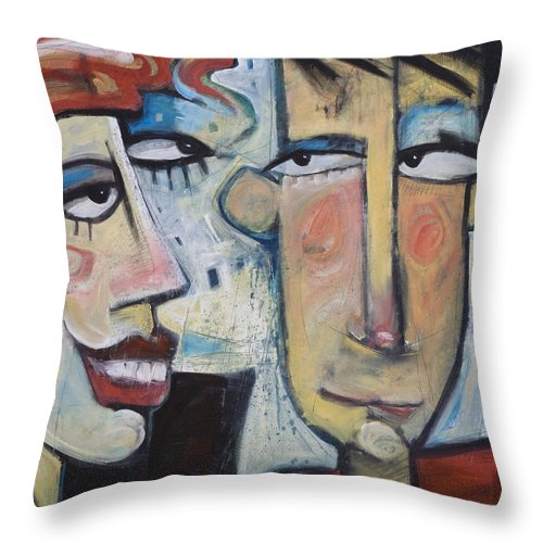 Man Throw Pillow featuring the painting An Uncomfortable Attraction by Tim Nyberg