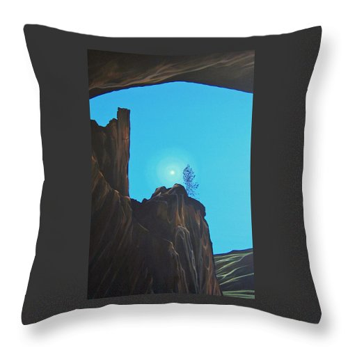 New Mexico Throw Pillow featuring the painting Anasazi Dreams by Hunter Jay