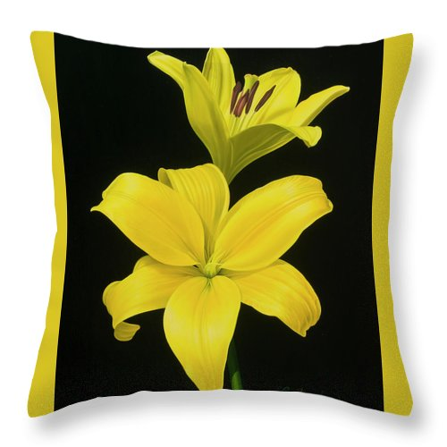Lilies Throw Pillow featuring the painting Anastacias Lilies by Gary Hernandez