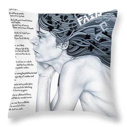 Poetry Throw Pillow featuring the painting Anatomy Of Pain by Judy Henninger