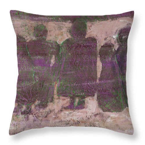 Ancestors Throw Pillow featuring the painting Ancestors by Wayne Potrafka